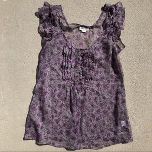 Sheer Purple Floral Half button up Top